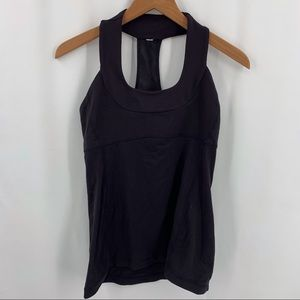 Lululemon black t back tank top size 8